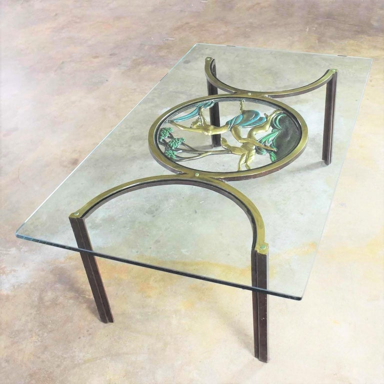 20th Century Art Deco Style Bronze Coffee Table with Diana the Huntress Medallion & Glass Top For Sale