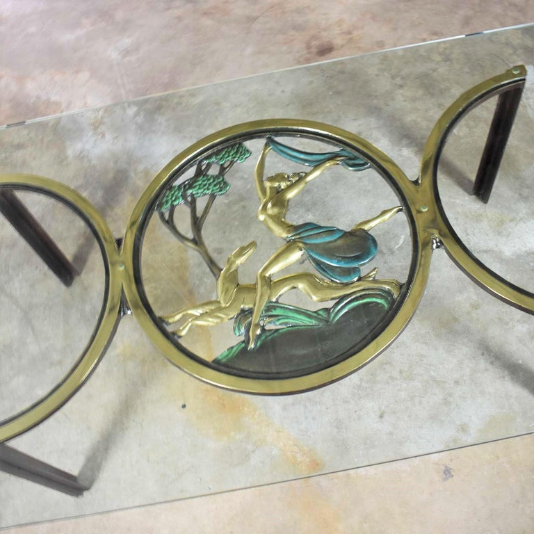 Art Deco Style Bronze Coffee Table with Diana the Huntress Medallion & Glass Top For Sale 1