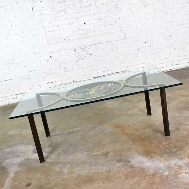 Art Deco Style Bronze Coffee Table with Diana the Huntress Medallion & Glass Top For Sale 2
