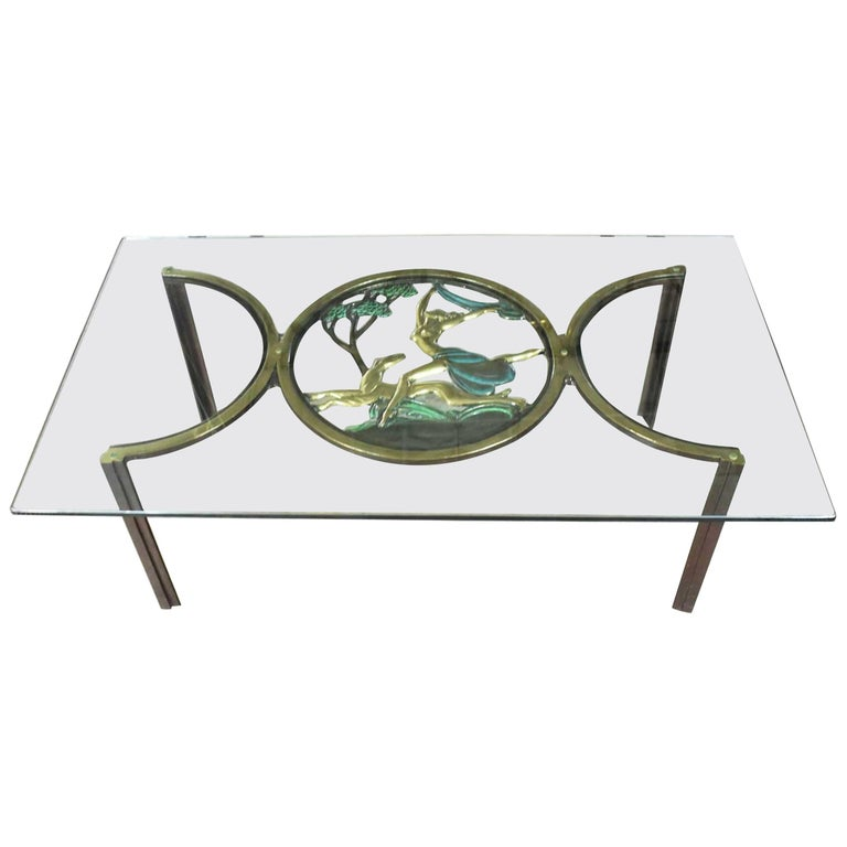 Art Deco Style Bronze Coffee Table with Diana the Huntress Medallion & Glass Top For Sale