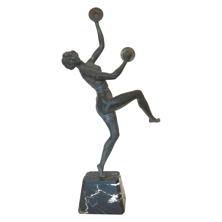 Art Deco Style Bronze Figural Statue, Dancer with Cymbals For Sale