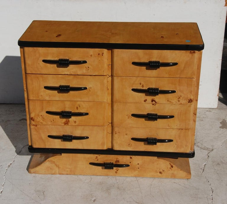 European Art Deco Style Burl Dresser For Sale