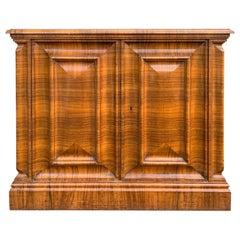 Art Deco Style Burled Walnut Veneered Two-Door Cabinet with Key, circa 1935
