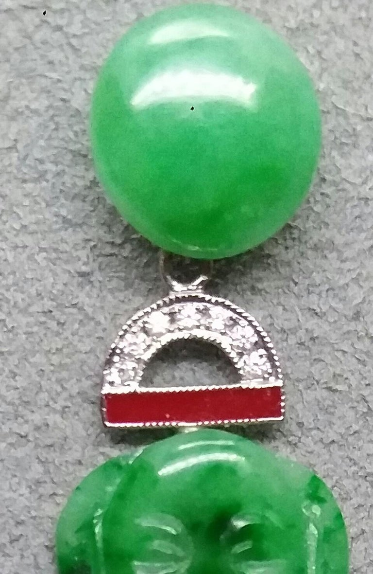 Art Deco Style Burma Jade Buddha Gold Diamonds Red Enamel Dangle Earrings For Sale 5
