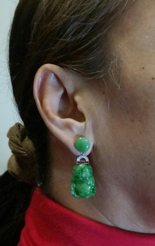 Art Deco Style Burma Jade Buddha Gold Diamonds Red Enamel Dangle Earrings For Sale 6