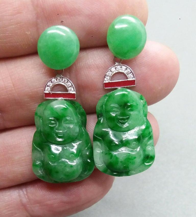 Mixed Cut Art Deco Style Burma Jade Buddha Gold Diamonds Red Enamel Dangle Earrings For Sale