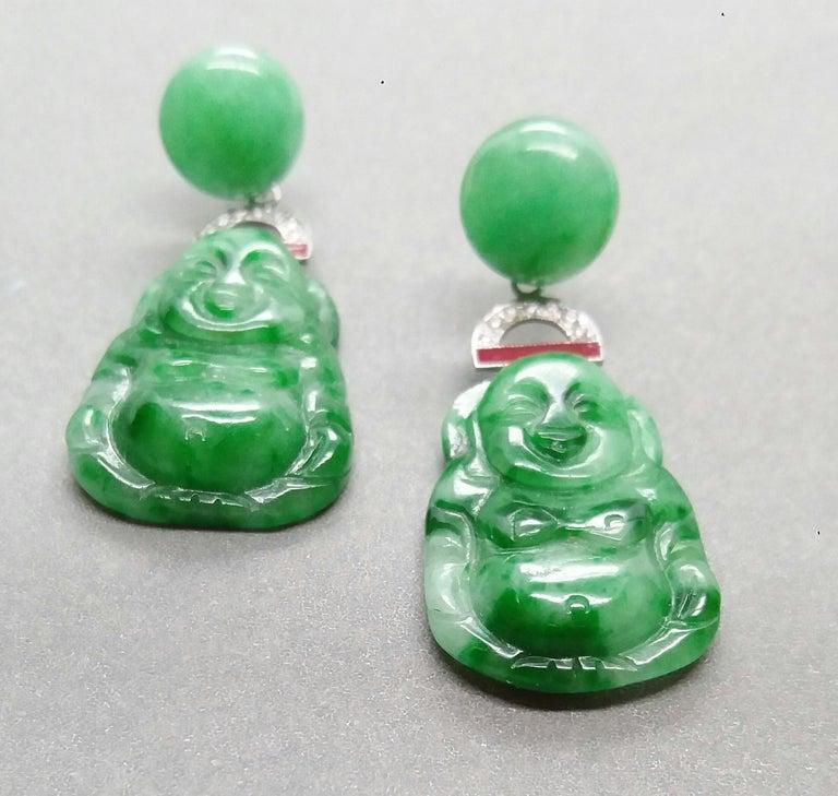 Art Deco Style Burma Jade Buddha Gold Diamonds Red Enamel Dangle Earrings For Sale 3