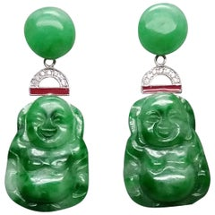 Art Deco Style Burma Jade Buddha Gold Diamonds Red Enamel Dangle Earrings