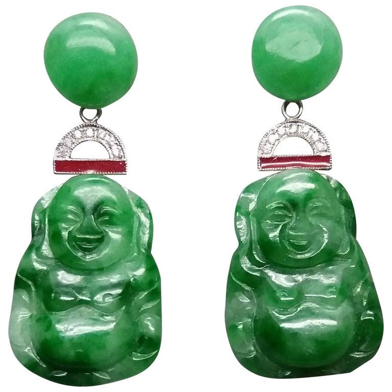 Art Deco Style Burma Jade Buddha Gold Diamonds Red Enamel Dangle Earrings For Sale