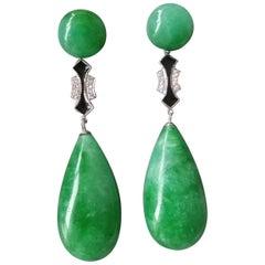 Art Deco Style Burma Jade White Gold Diamonds Black Enamel Drop Earrings