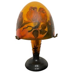 Art Deco Style Cameo Glass Table or Desk Lamp with A Family of Owl Sculptures