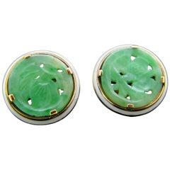 Art Deco Style Cartier New York Carved Jade Enamel Yellow Gold Earrings