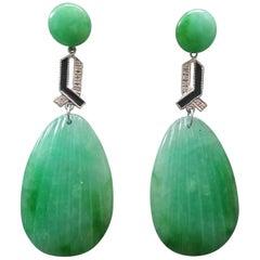 Art Deco Style Carved Burma Jade White Gold Diamonds Black Enamel Drop Earrings