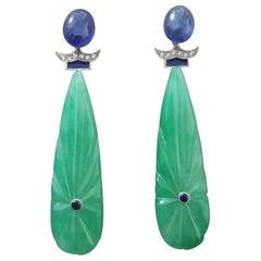 Art Deco Style Carved Jade Blue Sapphire Gold Diamonds Blue Enamel Drop Earrings