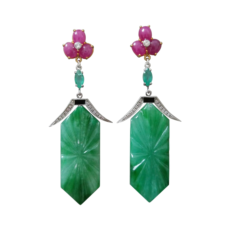 Art Deco Style Carved Jade Emeralds Rubies Enamels Gold Diamonds Dangle Earrings