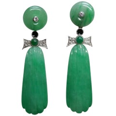 Art Deco Style Carved Jade Gold Diamonds Emeralds Black Enamel Dangle Earrings