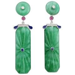 Art Deco Style Carved Jade Gold Diamonds Rubies Blue Sapphires Enamel Earrings