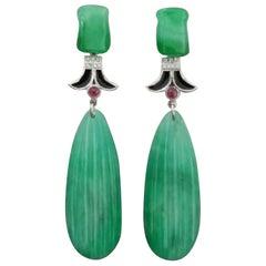 Art Deco Style Carved Jade White Gold Diamonds Rubies Black Enamel Drop Earrings
