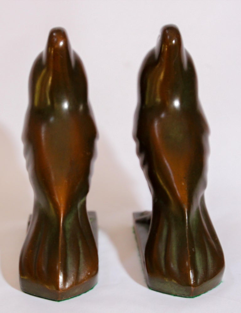Art Deco Style Cast Bronze Birds Bookends For Sale 5