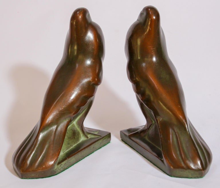 Art Deco Style Cast Bronze Birds Bookends For Sale 6
