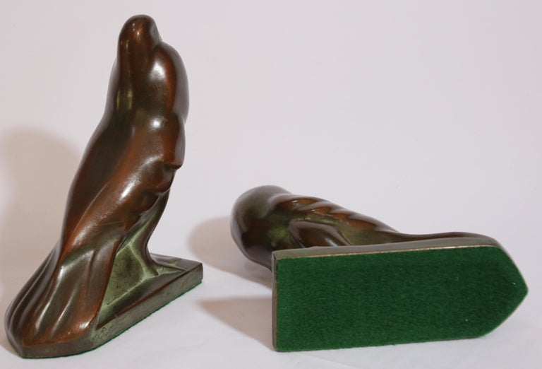 Art Deco Style Cast Bronze Birds Bookends For Sale 7