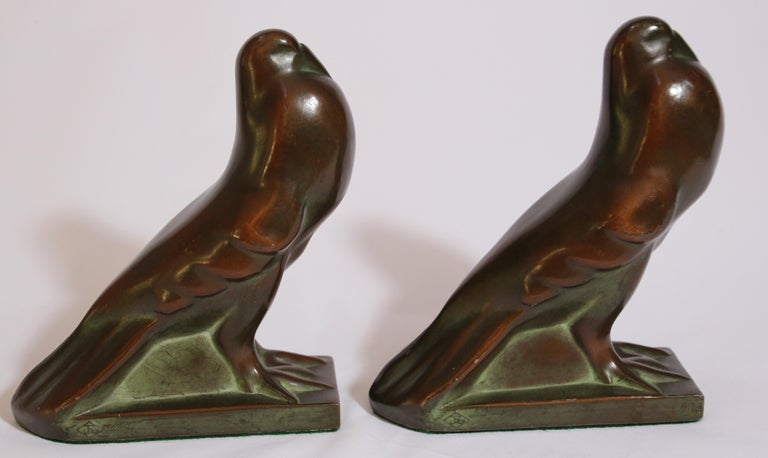 Art Deco Style Cast Bronze Birds Bookends For Sale 8