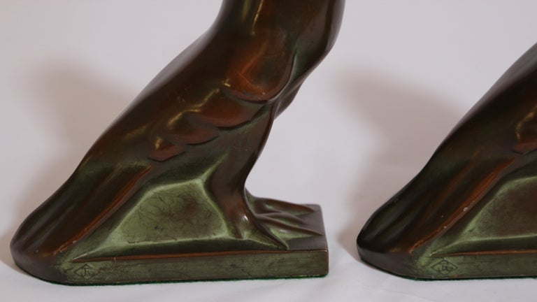 Art Deco Style Cast Bronze Birds Bookends For Sale 9