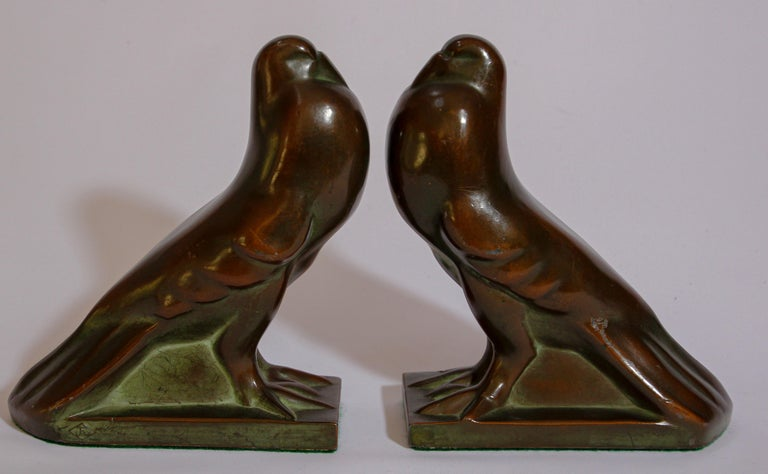 Art Deco Style Cast Bronze Birds Bookends For Sale 10
