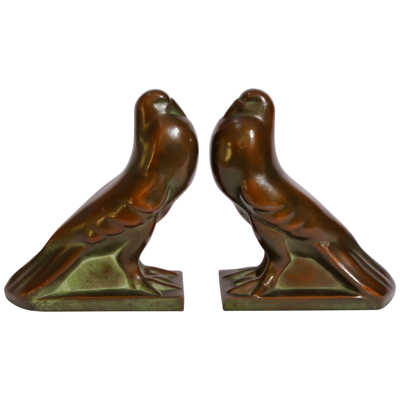 Art Deco Style Cast Bronze Birds Bookends