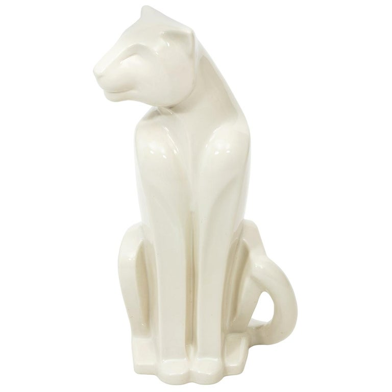 Art Deco Style Ceramic Panther Sculpture by Haeger For Sale