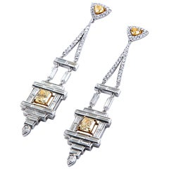 Art Deco Style Chandelier Diamond Earrings White and Yellow Gold