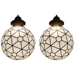 Art Deco Style Chandelier or Pendant, Round Shaped Milk Glass and Brass, a Pair