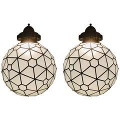 Art Deco Style Chandelier, Pendant Globe Shape Milk Glass and Brass, a Pair