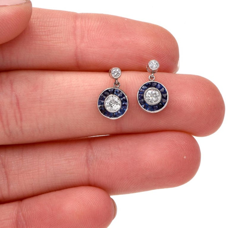 Art Deco Style Circle Diamond Sapphire Platinum Dangle Stud Earrings In Excellent Condition For Sale In Miami, FL