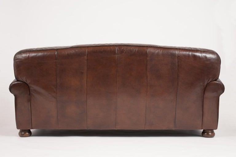 Brown Leather Club Sofa For Sale 4