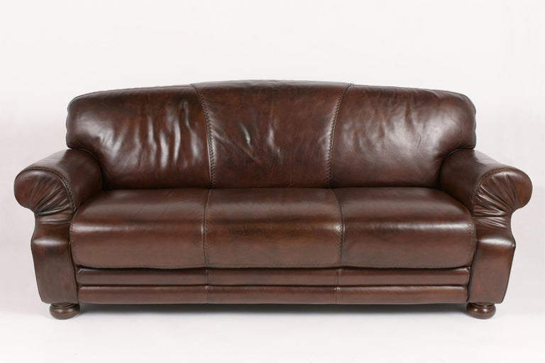 Mid-Century Modern Brown Leather Club Sofa For Sale