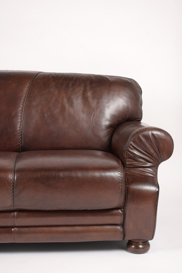 Carved Brown Leather Club Sofa For Sale