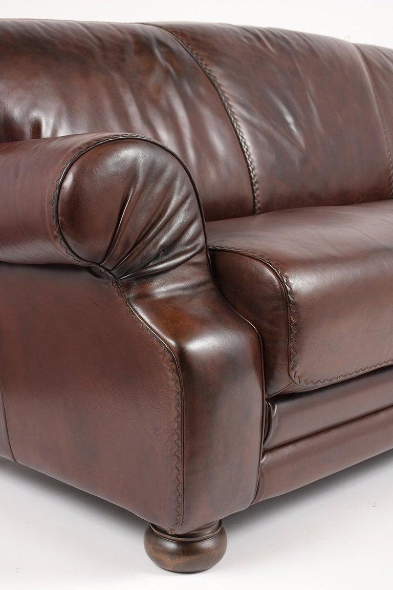Late 20th Century Brown Leather Club Sofa For Sale