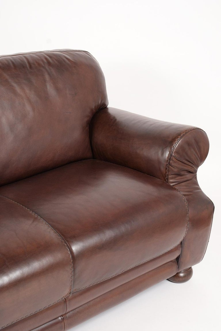 Brown Leather Club Sofa For Sale 1