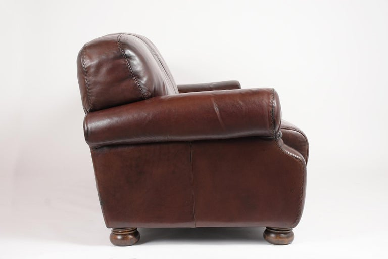 Brown Leather Club Sofa For Sale 2