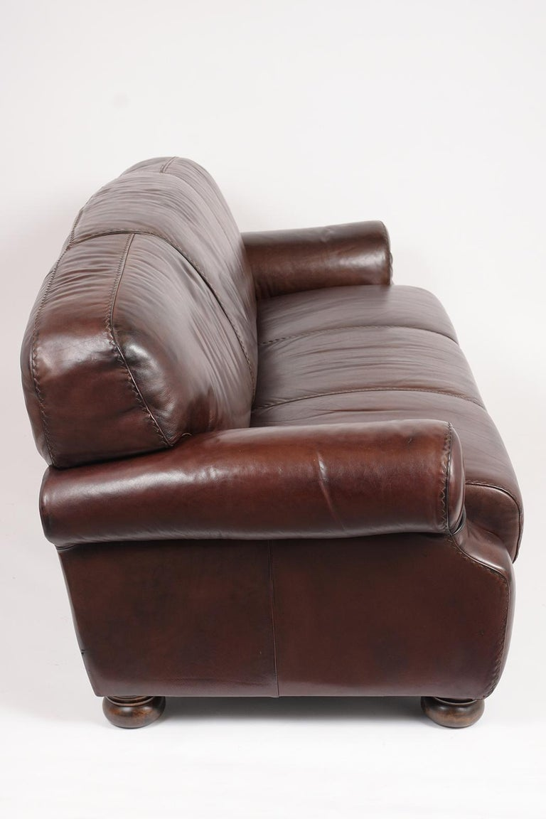 Brown Leather Club Sofa For Sale 3
