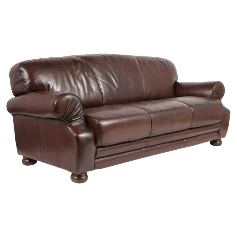 Brown Leather Club Sofa For Sale