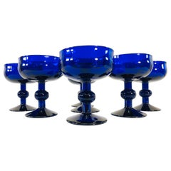 Art Deco Style Cobalt Glass Coupes, Set of 7