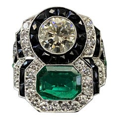 Art Deco Style Colombian Emerald Diamond Target Cocktail Ring Platinum, 1990s