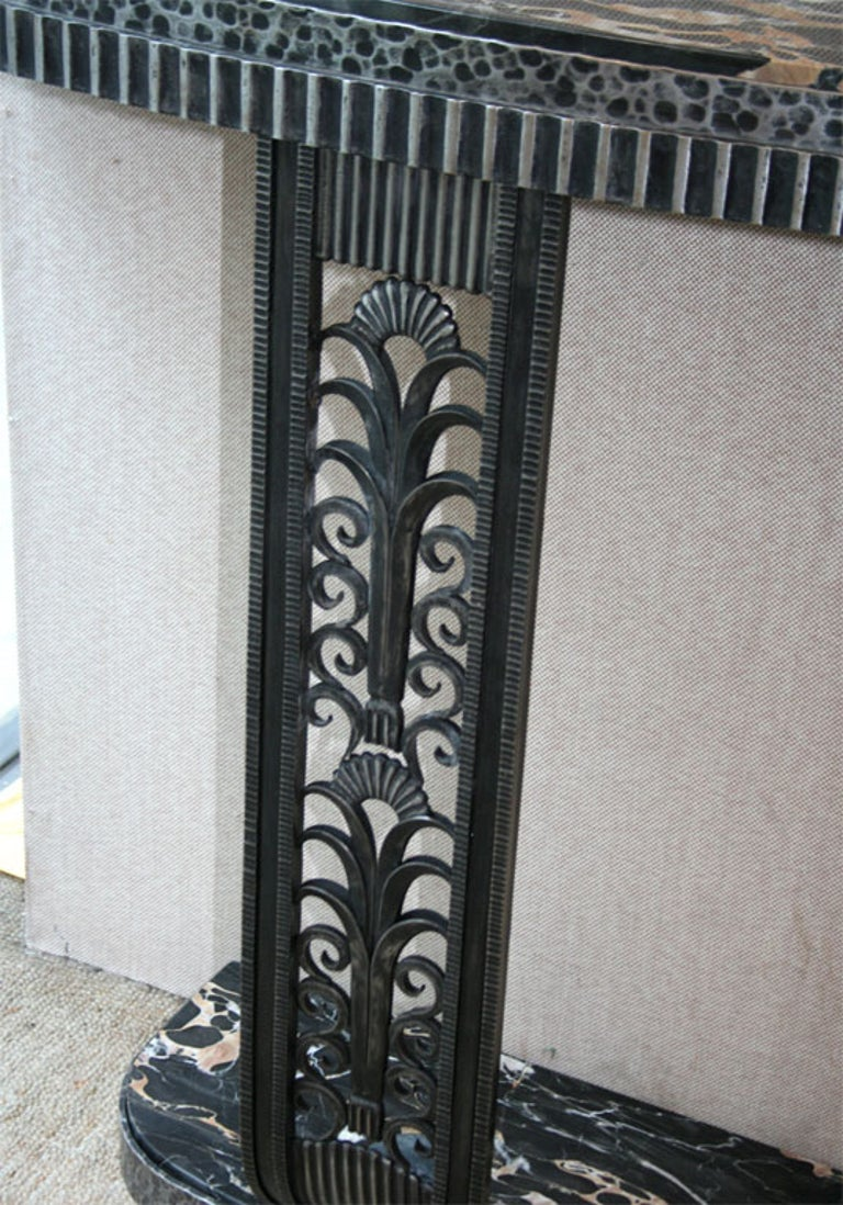 Art Deco Style Console Table after Edgar Brandt In Good Condition For Sale In Bridgewater, CT