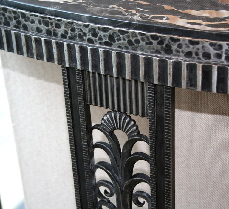 Wrought Iron Art Deco Style Console Table after Edgar Brandt For Sale