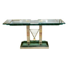 Art Deco Style Console Table Brass Glass Chrome Steel by DIA Design Institute