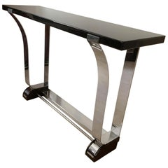 Art Deco Style Console Table, Curved Stainless Stell and Black Lacquer