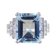 Art Deco Style Contemporary 5.50ct Aquamarine and Diamond Ring in Platinum