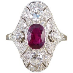 Art Deco Style Contemporary Ruby and Diamond Navette Shaped Platinum Plaque Ring